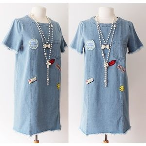 Denim Cotton Patch Pocket Fray Edge Shift Dress